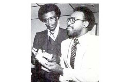 In 1973, Atlanta pharmacists Cornell McBride and Therman McKenzie take $500 of their own money to produce Sta-Sof-Fro Oil Sheen and Comb Out and launch future haircare giant M&M Products. After generating strong sales on a regional level, M&M gained national distribution with such major retailers as K-Mart and Woolworth stores. By 1980, revenues for the upstart had grown to $8 million. (Image: Cornell McBride and Therman McKenzie, Black Enterprise, February 1980)