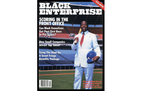 """Our July 1985 cover subject Henry """"Hank"""" Aaron no longer hit homeruns from the baseball field but sought to score in the front office as the Atlanta Braves' vice president and director of player development – at that time, baseball's highest-ranking African American executive. Aaron was the rare exception when came to black ascension within the executive ranks of professional sports. In fact, the lack of such representation in the front offices was considered """"an embarrassment"""" to baseball, basketball and football leagues.  Such reports, in part, led to present-day diversity efforts. As for the future appearance of Aaron on BLACK ENTERPRISE cover – the June 2004 issue when his successful dealerships made him BE Auto Dealer of the Year."""