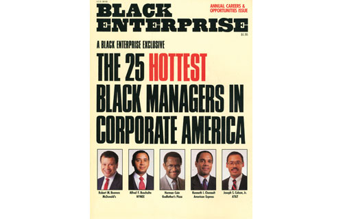 """In February 1988, BLACK ENTERPRISE published an unprecedented list of blacks who reached the upper echelons of corporate power. The roster, """"The 25 Hottest Managers in Corporate America,"""" looked at executives who controlled multimillion dollar budgets and ran billion-dollar divisions. Not one executive on that list was a black woman. From that original list, however, two reached CEO status at one of the nation's largest 500 publicly-traded corporations: A. Barry Rand, former CEO of Avis Corp. and Kenneth I. Chenault, current Chairman and CEO of American Express. As of 2009, the list has grown to become the """"100 Most Powerful Executives in Corporate America."""" Currently, there are nine black CEOs of the nation's largest publicly-traded corporations – including one woman."""