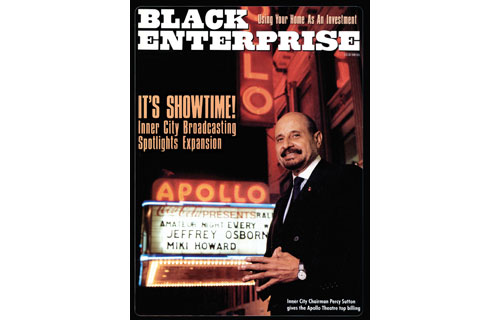 """This April 1989 cover shows Percy Sutton, the """"Godfather of Urban Radio,"""" in front of Harlem's legendary Apollo Theatre, which he acquired, renovated and revitalized as part of a nationally-syndicated Showtime at the Apollo television show.  As we interviewed the Tuskegee Airman, civil rights activist and politician who took a single radio station and transformed it into Inner City Broadcasting Corp., he was continuing to develop new media ventures as well as begin the process of handing the reins of his business empire to the next generation."""