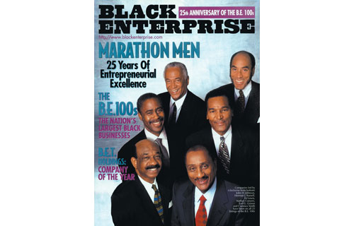 "In celebrating the 25th Anniversary of the BE 100s – the rankings of the largest black-owned businesses – in the June 1997 issue, our editors recognized the ""Marathon Men,"" leaders of the five companies on every listing since its inception. They were John H. Johnson of Johnson Publishing Co., the parent of Ebony and Jet magazines and Fashion Fair Cosmetics; Herman J. Russell of H.J. Russell & Co., the largest black-owned construction company; Clarence Smith and Ed Lewis of Essence Communications Inc., publisher of Essence Magazine; Nathan Conyers of Conyers Riverside Ford; and Earl G. Graves, Sr. of Earl G. Graves Publishing Co., publisher of BLACK ENTERPRISE Magazine.  To date, Johnson Publishing, H.J. Russell & Co. and Earl G. Graves Publishing are the remaining BE 100s perennials"