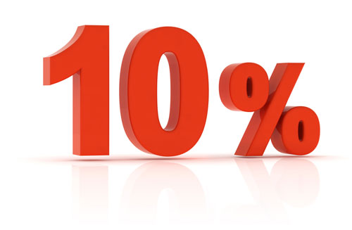 10 percent: The minimum amount you should save from your take-home pay