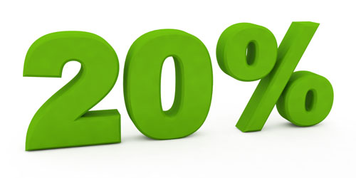 20 percent: The amount you need to put toward a home down payment in order to avoid private mortgage insurance