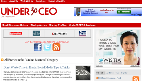 While most young entrepreneurs are long on passion and short on wisdom, there are a number of websites where enterprising young CEOs can get the information and resources they need to help their business soar. Check out the best websites for young business owners. Under 30 CEO With a robust offering of tips, advice, and exemplary young entrepreneurs, this site is perfect for the inspired and aspiring entrepreneur. Find information on startups, leadership, branding, and online businesses—all for entrepreneurs under the age of 30.