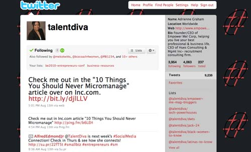Twitter (www.twitter.com/talentdiva): I love using Twitter. It's easy to get information, research what people are talking about, and share my knowledge. I do use it for marketing but also to promote others. I started TweetMeTuesdays a few months ago. I put out a call to recruiters and hiring managers each Tuesday asking them to send me their jobs so I can retweet them to my followers. The idea is to put people back to work. I do it for free. I also like that I can segment different lists when I want to follow certain conversations. And I can launch contests, request feedback, and start relevant conversations on business, networking and careers. My dislikes are the spammers and the fact that unless you understand how to use lists and hashtags, it seems like one big fast moving conversation that's difficult to keep up with.