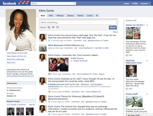 On Facebook (www.facebook.com/ChristyCurtis): Imagine all your friends, family members, and business contacts in one ridiculously huge room. That's what Facebook is. It's your own personal stage to talk about anything you like. (Remember that note of caution!) For business owners and entrepreneurs, this means grand opportunities for promotion, marketing, and shooting the breeze about topics in your industry.  My company, Web Business Ownership, recently started a Facebook page for business owners and entrepreneurs to post their web sites and have discussions about web business topics. Hope to see you (and your web site) there!