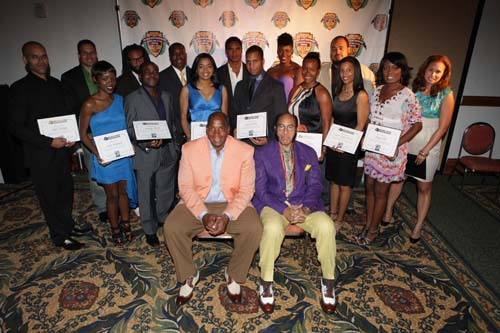 "Black Enterprise CEO Earl ""Butch"" Graves and Founder and Chairman Earl Graves Sr. with 40 Next business achievers honored at the welcome reception. (Photo by LaToya M. Smith)"