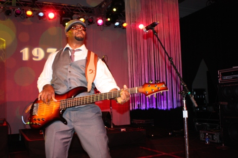 Sol Factor band member brings the thundering bass to the party. (Photo by LaToya M. Smith)
