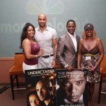 Kodjoe and Underwood pose with the lucky winners of a raffle of Undercovers and The Event posters to be autographed by the stars.