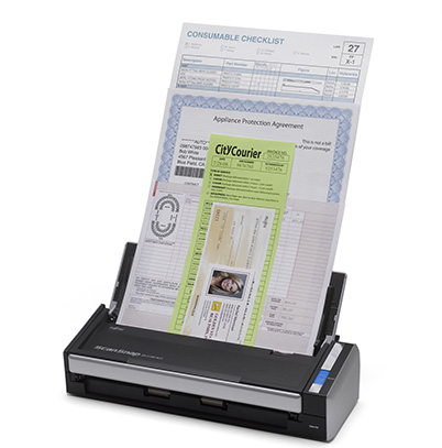 "ScanSnap  S3100 - Business trips produce lots of paper: receipts, numerous business cards, and plenty of documents. Lugging all of that paper around from city to city can be taxing and hard to find when you need it. The ScanSnap S3100, a portable, color, double-sided scanner will lighten that load and help you create a paperless, digitally searchable, mobile office. The automatic document feeder, which holds up to 10 sheets at one time, can scan documents from 2"" x 2"" to legal size, and it automatically fixes the orientation of crooked documents in its FineReader software. The 3.1 lb. scanner will fit easily in your luggage, plus it extracts contact information from documents and automatically exports it to Outlook for PCs, Address Book for Mac users, and Evernote for both; (http://us.fujitsu.com/scansnap; $295)."