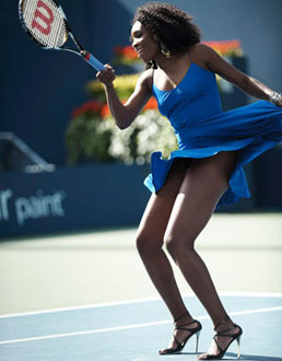 In a tennis fashion match photo shoot with sister Serena done by Harper's Bazaar