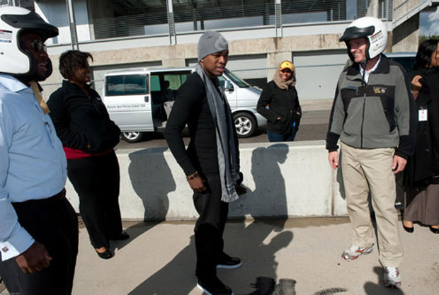Ne-Yo gets ready for his trip around the racetrack.