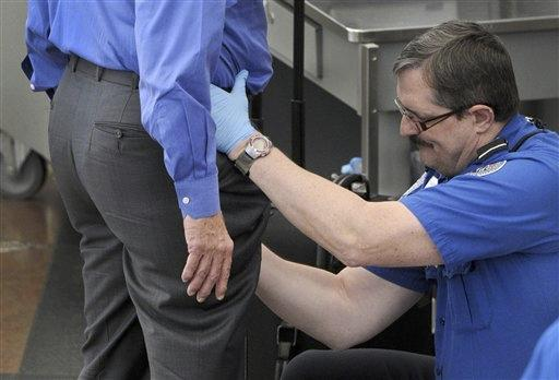 During the enhanced pat-down, TSA officers check sensitive areas such as the groin.