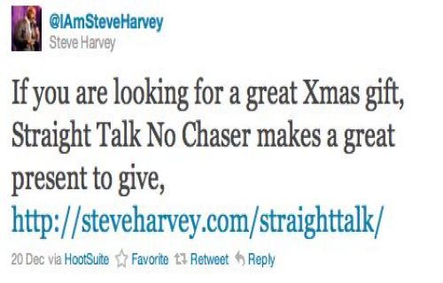 """If you are looking for a great Xmas gift, Straight Talk No Chaser makes a great present to give, http://steveharvey.com/straighttalk/"" - Steve Harvey (@IAmSteveHarvey)"