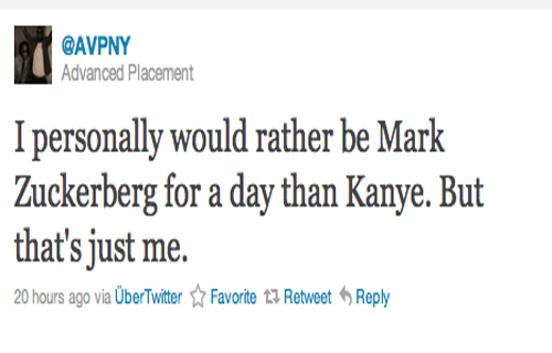 """I personally would rather be Mark Zuckerberg for a day than Kanye. But that's just me."""