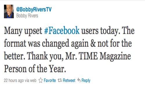 """Many upset #Facebook users today. The format was changed again & not for the better. Thank you, Mr. TIME Magazine Person of the Year."""
