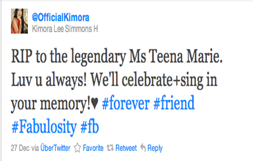 """RIP to the legendary Ms. Teena Marie. Love you always! We'll celebrate & sing in your memory!? #forever #friend #Fabulosity #fb "" Kimora Lee Simmons H (@OfficialKimora)"