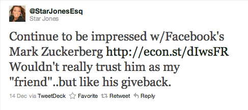 """Continue to be impressed w/ Facebook's Mark Zuckerberg http://econ.st/dIwsFR Wouldn't really trust him as my 'friend'..but like his giveback."""