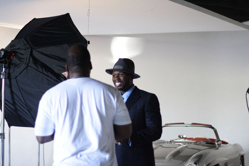 50 Cent is all smiles as he preps for his close-up.