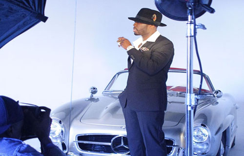 Co-staring with 50 Cent in capturing the old Hollywood-inspired feel was a 1956 Mercedes Benz 300SL.
