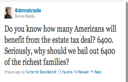 """Do you know how many Americans will benefit from the estate tax deal? 6400. Seriously, why would we bail out 6400 of the richest families?"" —Donna Brazile (@donnabrazile)"