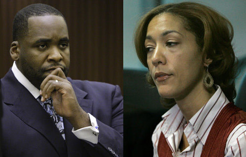 AUGUST 20 - SEPTEMBER 11, 2007: The Whistleblower trial, which stemmed from a civil lawsuit filed against Kilpatrick and the city of Detroit by ex bodyguard Harold Nelthrope and former Deputy Police Chief Brown, began. Both men claimed they were wrongfully terminated for looking into questionable actions by the Mayor. During the trial rumors of a romantic relationship between Kilpatrick and his chief of staff, Christine Beatty, (pictured, right) surfaced but both Kilpatrick and Beatty denied the charges under oath. On September 11th the city settled the case, resulting in Brown and Nelthrope receiving $6.5 million plus interest.