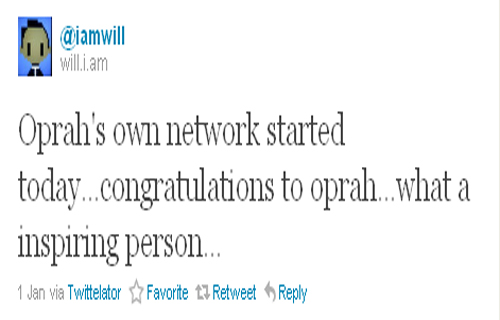 """Oprah's OWN network started today...congratulations to Oprah...what an inspiring person..."" Will.I.Am (@iamwill)"