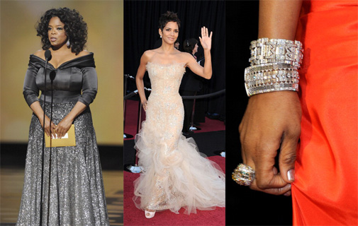 "As celebrities made their appearances during the 83rd Annual Academy Awards, many stepped out with bold power moves in terms of style. From Oprah Winfrey and Halle Berry to Russell Simmons and 50 Cent, these African American stars combined grandeur, bling and classics to seal the deal with red carpet swag. Take a style cue from these industry heavy-hitters for your next evening or cocktail hour event to take your look to the next level. Oprah Winfrey's crystal-infused Zac Posen dress was the perfect combo of confident allure and fierce wowness-- as is the media powerhouse in her role as queen of her multi-million dollar media empire managing Aha moments and balancing billion-dollar bank rolls.  	Actress and singer Jennifer Hudson accented her gown with stacks of jeweled bangles and diamond drop earrings, adding luxe detail to her slimmed-down silhouette.   	Oscar-winning actress Halle Berry's elegant yet edgy choice --a Marchesa gown which starts with nude tones and crystals and ends with a contrast of dramatic tulle--is reminiscent of her diverse range of roles, branding her as one of the most versatile and successful black actresses in the industry. 	For each, the ""look-at-how-I-dare-to-shine"" sentiment is clear. These ladies are comfortable and confident with being the center of attention."