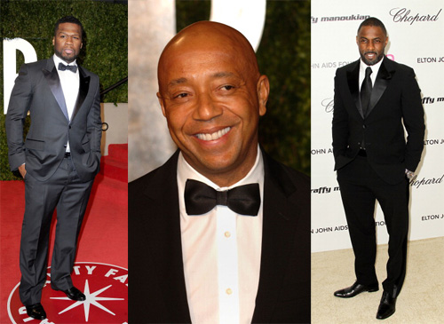 Black and navy are timeless colors that few can get wrong, giving the perfect expression of strength and assurance. These handsome gentlemen, philanthropic music mogul Russell Simmons, British-imported actor and deejay Edris Ilba, and hip-hop entrepreneur 50 Cent make walking the red carpet look bold and easy in these sleek and simple looks that scream power and respect from head to toe.