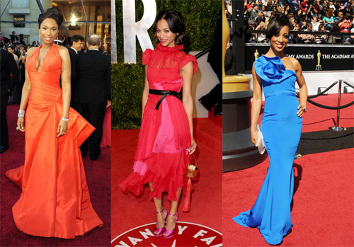 Jennifer Hudson, actress Zoe Saldana and TV personality Shaun Robinson brought the red carpet to life with their hot hues. Hudson's tangerine-colored Atelier Versace dress adds just as much pow factor as the tremendous vocal range that won her an Oscar in 2007 for her role in Dreamgirls. Saldana's  flirty Prabal Gurung frock  and Robinson's royal blue gown show these ladies' flair for fanfare as two of entertainment industry's hottest talent.