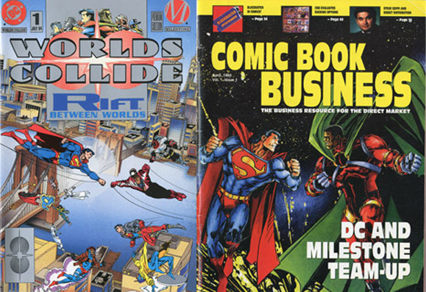 Worlds Collide was a major event in the comic book history: a multi-part crossover between Milestone's core characters—Icon, Hardware, Blood Syndicate and Static—and the Superman universe of characters. The best-selling crossover was an example of the value of the unique distribution, marketing and publishing agreement between Milestone Media and DC. Milestone's Editor-In-Chief McDuffie was key in driving the creative process of this massive undertaking.
