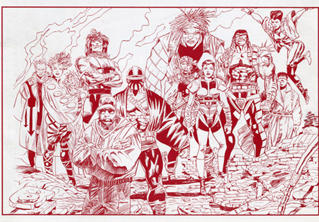 Pencils of Blood Syndicate by Cowan that appeared on the April 1993 edition of DC's Coming Comics.  The headline boldly proclaimed: MILESTONE – Breaking New Ground.