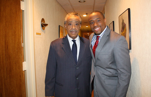 Rev. Al Sharpton poses with Marc Lamont Hill before the show