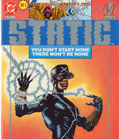 A copy of Static #1 platinum edition. Although nerdy Virgil Hawkins could transform into the a wisecracking crusader in a city infested with superhuman crime, he discovered that playing hero was not a game. This collector's edition is still highly sought by comic book fans, young and old.