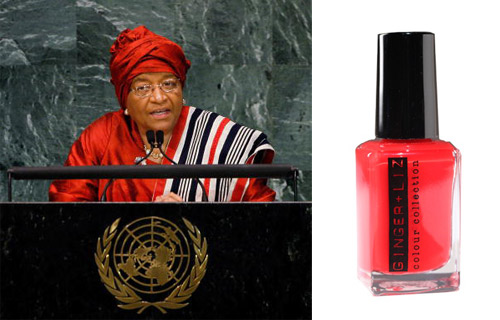 "ELLEN JOHNSON SIRLEAF  	President, Liberia 	Known as Africa's ""Iron Lady,"" Sirleaf was elected in 2005 as the 24th President of Liberia.  The first and only female Head of State in all of Africa, Sirleaf is an advocate for democracy, peace and justice. With her financial background, Madam President has been able to make many strides in boosting economic wwwelopment in Liberia. In 2007, Sirleaf was awarded the U.S. Presidential Medal of Freedom. 	POLISH PICK: Boss Lady.  This scarlet/sunburst red is truly one of a kind. The energy from this color exudes confidence and passion. The Liberian leader is in a class by herself.  Need we say more?"