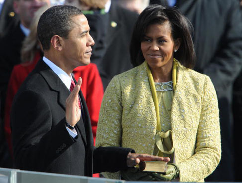 Barack Hussein Obama is sworn in as the 44th president of the United States of America.