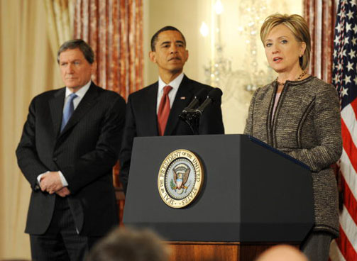Obama, Biden, Clinton, Holbrooke And Mitchell At The State Department