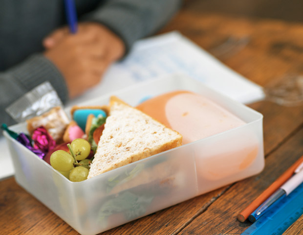 Bring your own lunch and use recyclable containers. Making your own instead of ordering a $10 lunch can definitely save pennies, but also, when you make your own lunch in recyclable containers, you help to ensure that plastics won't end up polluting an ocean or river near you.