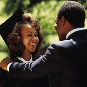 Black student graduating