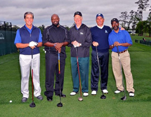 My team: Shell President Marvin Odum, NFL Hall of Famer Emmitt Smith, former U.S. Secretary of State James Baker and Couples. (Image: Shell)