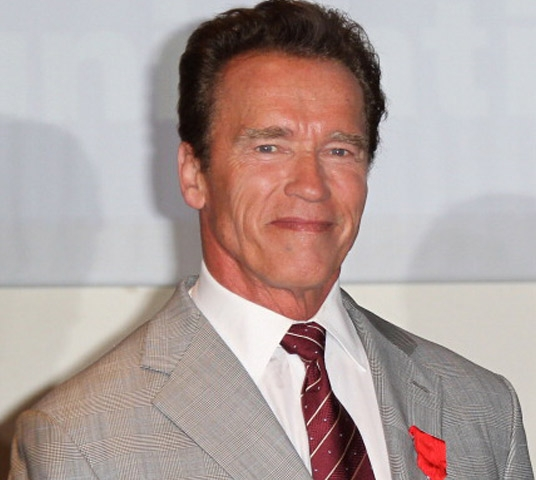 Arnold Schwarzenegger in a suit and smiling