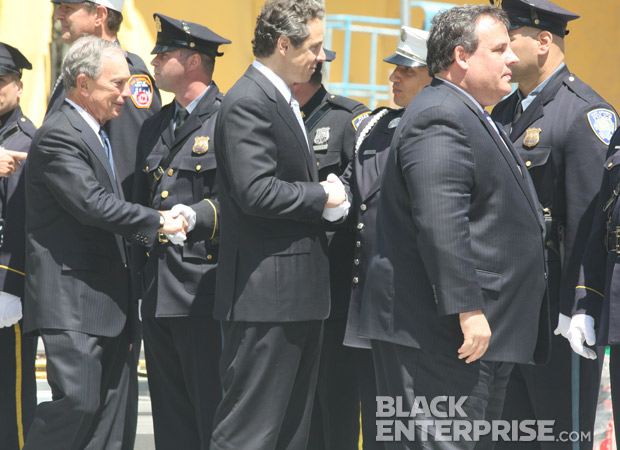 Governor Cuomo, Mayor Bloomberg and Governor Chris Christie greeting officers at 9/11 memorial wreath ceremony