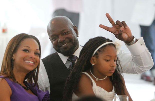 NFL legend Emmett Smith brings his wife and daughter out to support Bishop T.D. Jakes' Easter brunch