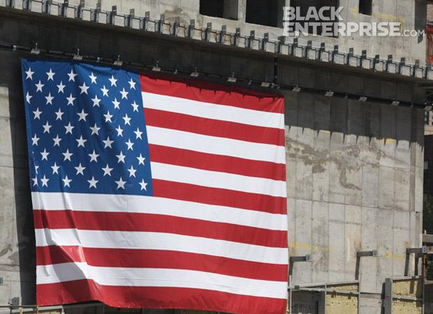 American flag at 9/11 memorial site