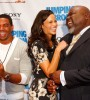 Actors Laz Alonso and Paula Patton share a hearty laugh with Bishop T.D. Jakes at the Dallas screening of Jumping the Broom