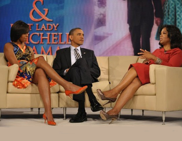 Oprah Winfrey interviewing Barack Obama and Michelle Obama