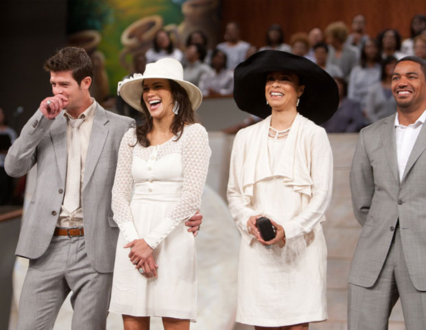 Singer Robin Thicke joins his wife Paula Patton and her Jumping the Broom co-stars, Valerie Pettiford and Laz Alonso and Bishop T.D. Jakes' The Potter's House Easter service