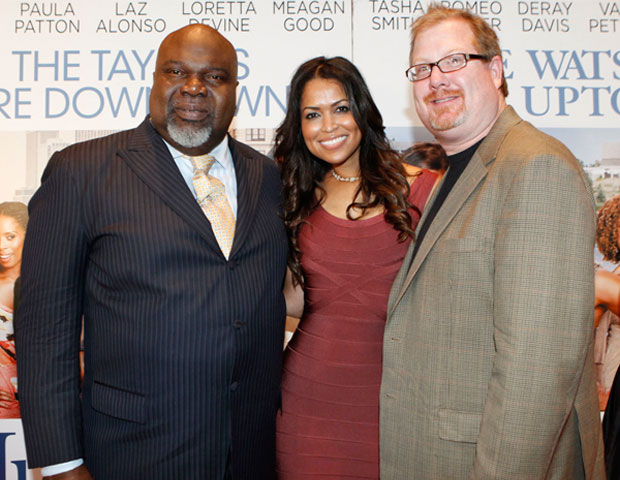 Bishop T.D. Jakes, Tracey Edmonds and TDJ Enterprises' COO/Producer Curtis Wallace walk the red carpet
