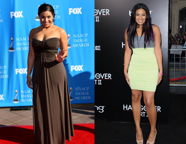 Singer Jordin Sparks, of American Idol fame, reportedly went from a size 14 to a size 8, and was happy to show off her new tight body via Twitpics and magazine spreads, from People to US magazines. She touts Zumba, the popular dance-infused fitness program, as what helped her slim down.