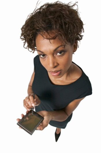 Woman holding a PDA device